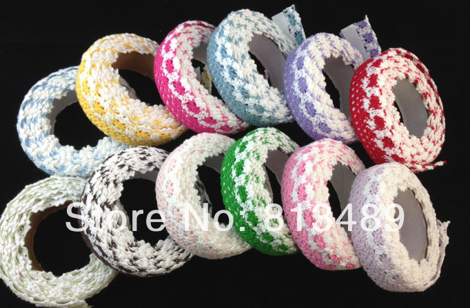 Free shipping 12pcs/lot mix colors decorative lace adhesive tape scrapbooking supplies textile tape(China (Mainland))