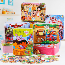 100pcs/set Wooden Puzzle Cartoon Toy 3D Wood Puzzle Iron Box Package Jigsaw Puzzle for Child Early Educational Montessori Toys(China (Mainland))