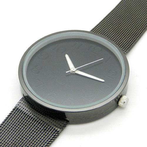 Простой стиль черный металл железо чистая сетки группа мода кварцевые наручные часы часы Q1003