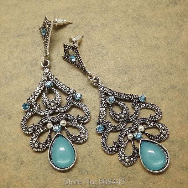 Er390 старинное серебро богемия синий ретро старинные серьги для женщин леди 2015 новый ювелирные изделия бижутерия