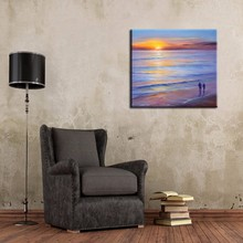 Modern Wall Art Best Price Hand Painted Abstract Landscape Oil Paintings On Canvas Romantic Lover Walking On Beach Oil Painting(China (Mainland))