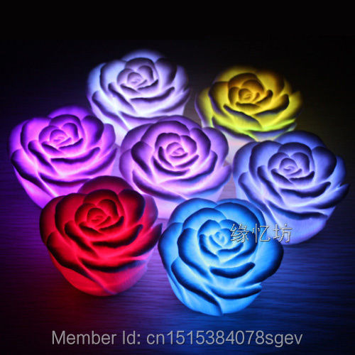 Decoration Night Light Romantic LED Rose Flower 7 Color Changing Candle New(China (Mainland))