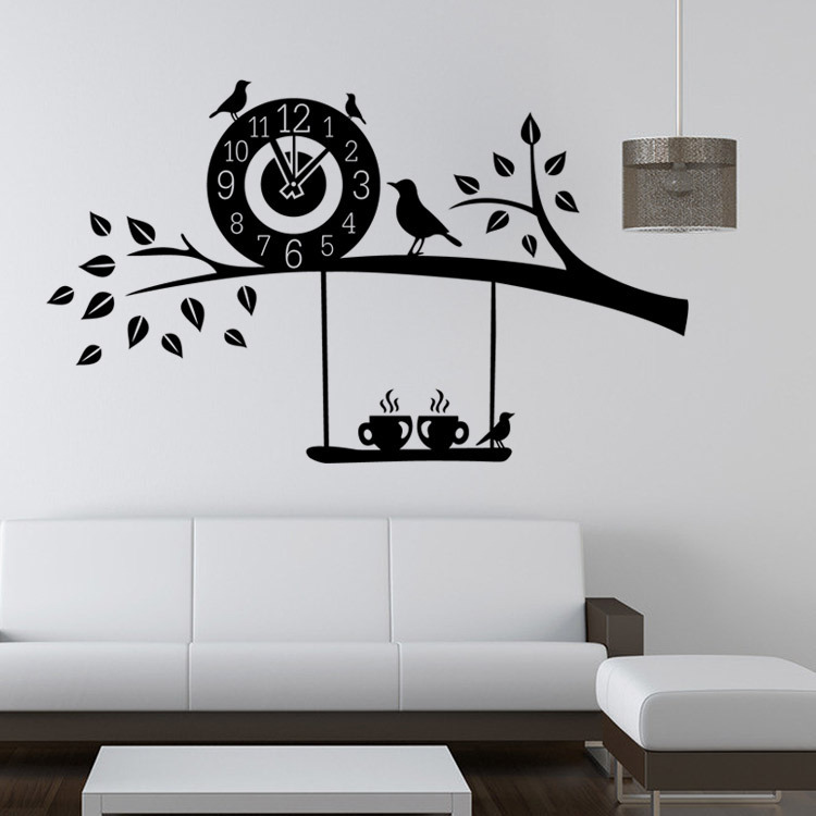 birds on the tree branch wall stickers fans kids bedroom decoration diy vinyl adesivo de paredes home decals 3d mual art decor(China (Mainland))