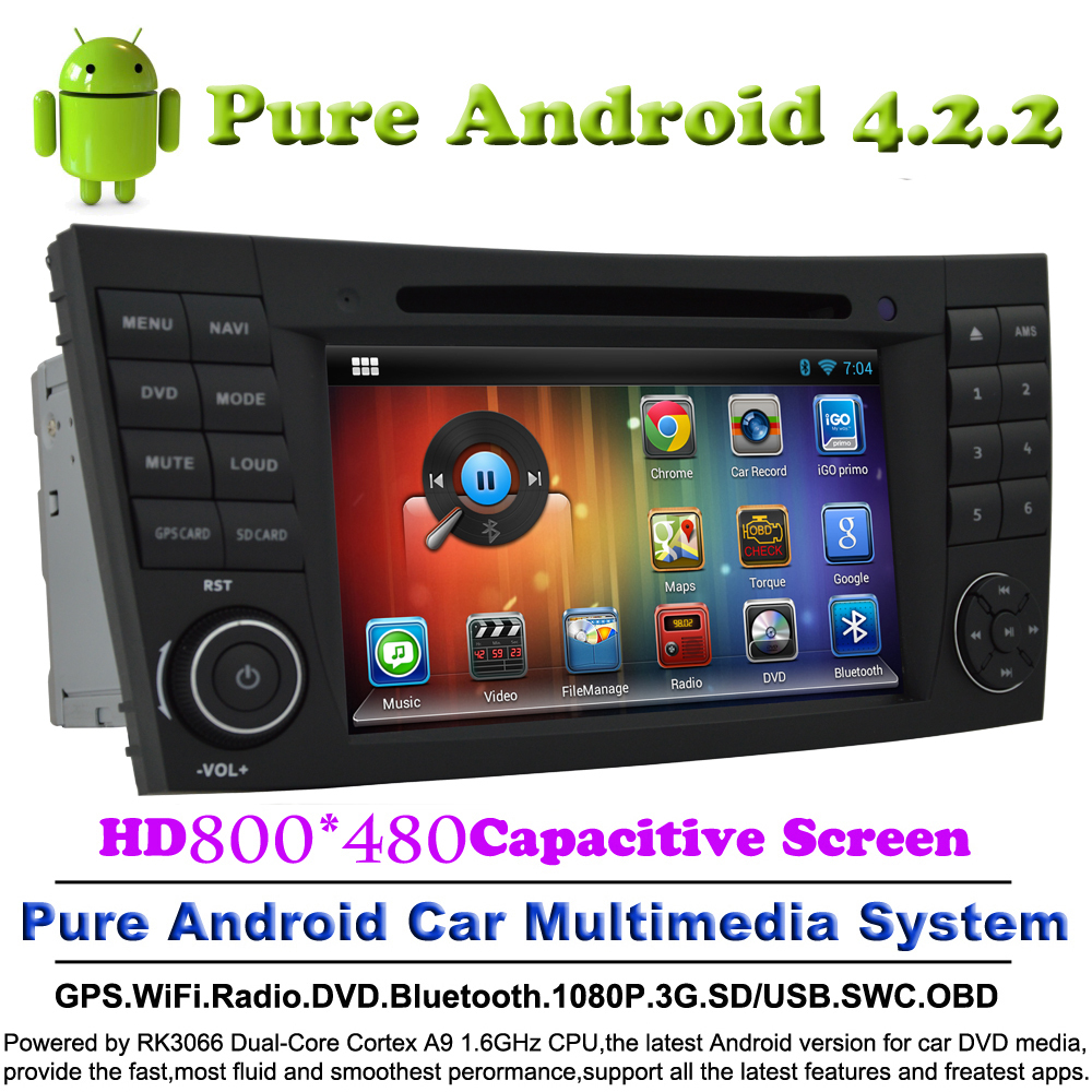 2 din Pure Android 4.2.2 Car DVD Player DVD Automotivo GPS For Mercedes Benz E-Class W211 2002-2008 With Audio Radio Bluetooth(China (Mainland))