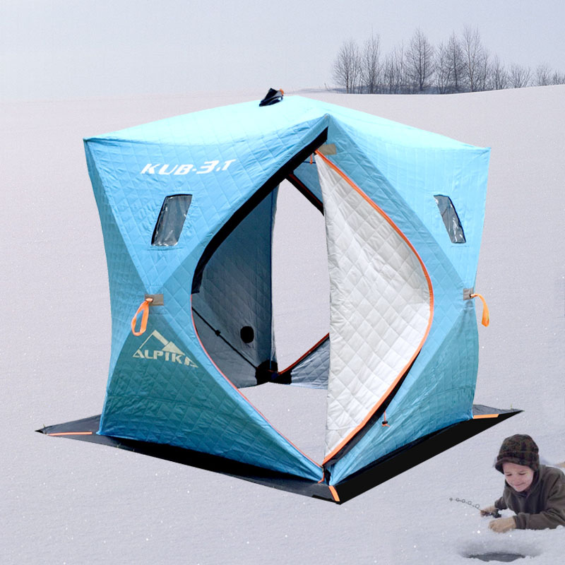 Ice fishing 3-4 person 3 layer cotton warm winter snow use in winter hiking outdoor camping large space ice fishing tent(China (Mainland))