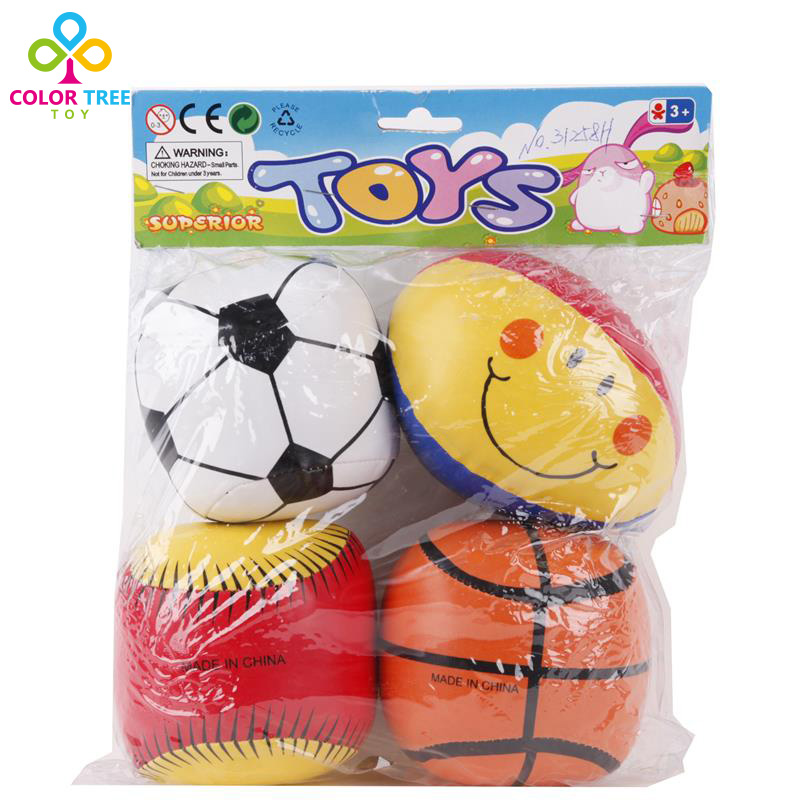 4pcs/set Toddler 4 Inch Leather Football Basketball Baseball Rugby Baby Grasping The Ball Learning Educational Toys(China (Mainland))