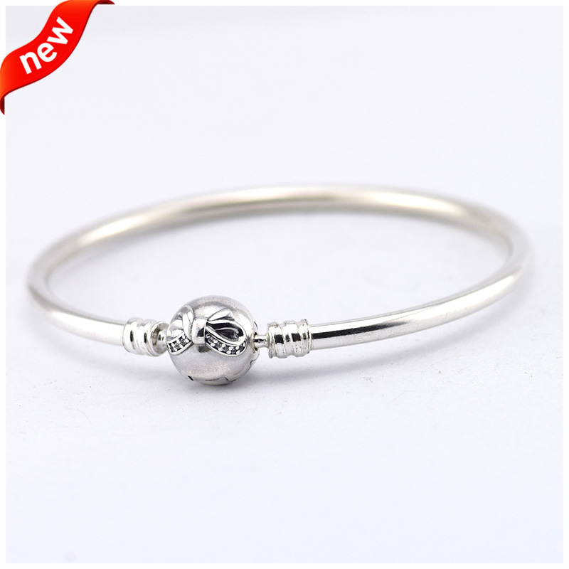 Authentic 925 Sterling Silver Bangles with Cubic Zirconia Stone Compatible With Pandora Bracelets FLB12018 free shipping<br><br>Aliexpress
