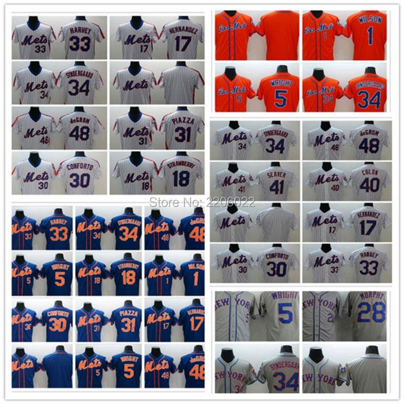 New York Mets Jersey Men women kids 48 Jacob deGrom 34 Noah syndergaard 33 Matt Harvey 5 David Wright Strawberry Baseball Jersey(China (Mainland))