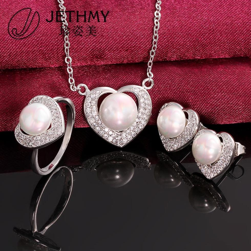 Brand fashion pearl jewelry set women 925 sterling silver pearls jewellery necklace sets bijoux+gift box aretes(China (Mainland))