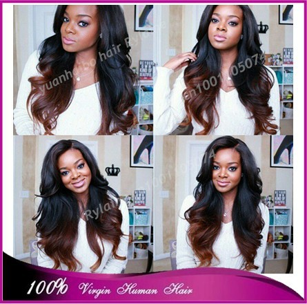 Top quality 7a 1b/4 best quality peruvian virgin ombre hair two tone color front lace wig free shipping(China (Mainland))