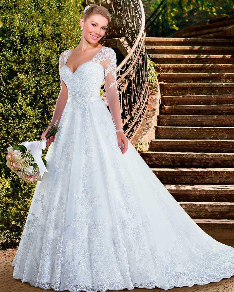 Vestidos de novia long sleeve wedding dresses 2016 lace for See through wedding dresses