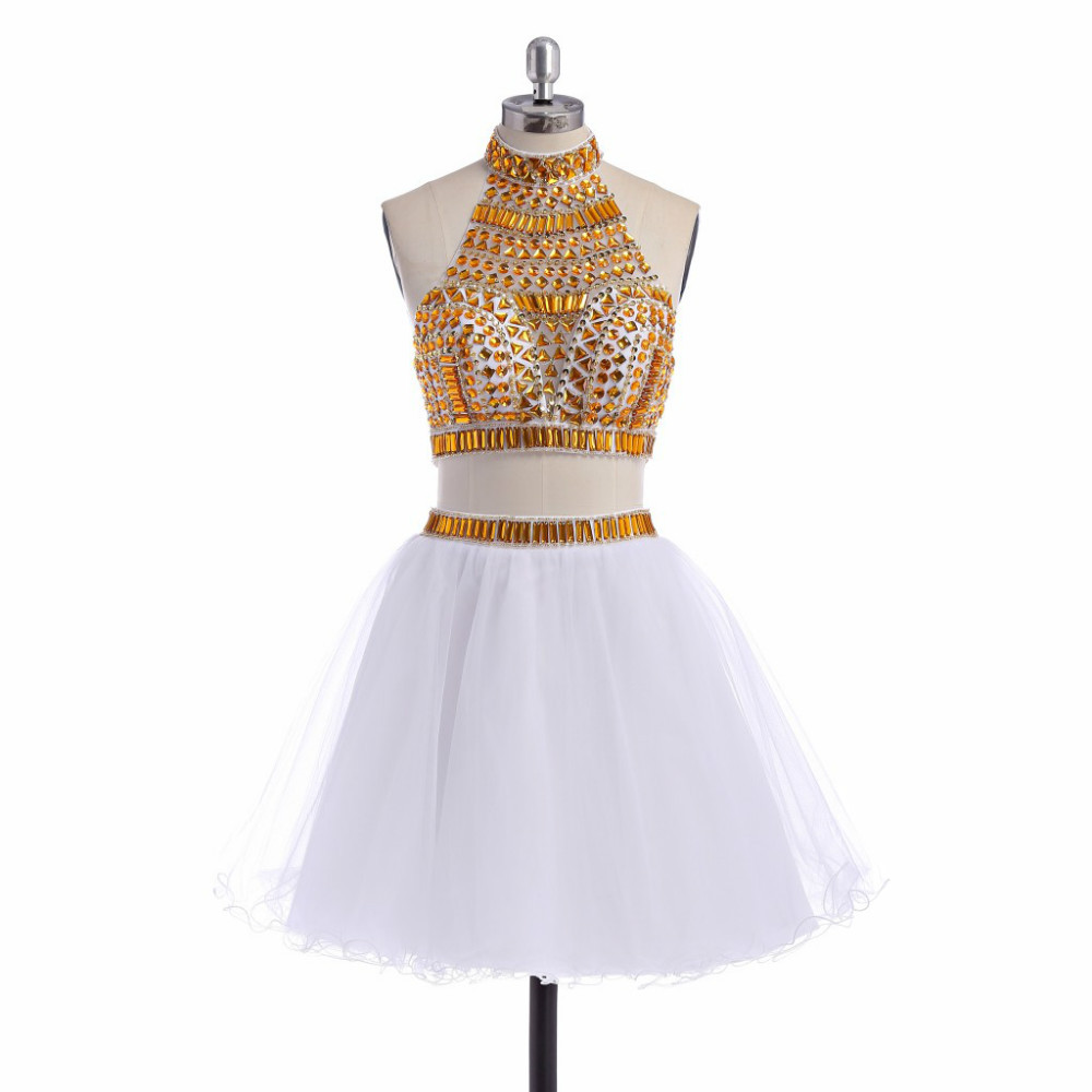 White Gold 2 Piece Homecoming Dresses 2015 Beaded Cocktail Dresses for Juniors Top 10 Short Dress Homecoming Actual Images(China (Mainland))