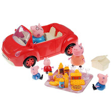 Peppa Pig Red Car 4pcs Peppa Family & Picnic Foods Hot Cartoon Pig Toys kids Best Gift Pink Pig Toys(China (Mainland))