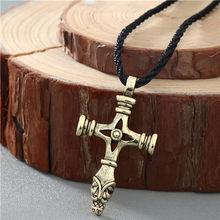 QIMING Nordic Viking mężczyźni naszyjnik kobiety słowiańskim symbolem amulety Kolovrat antyczne srebro krzyż młotek wisiorek mężczyzna naszyjnik biżuteria(Hong Kong,China)