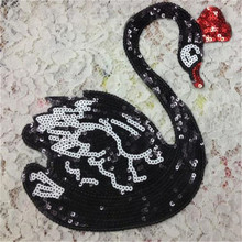 Sequin black swan iron on patches for clothing down coat, jacket men, men jeans, women jeans, t shirt, blusas, skirt, snapback(China (Mainland))