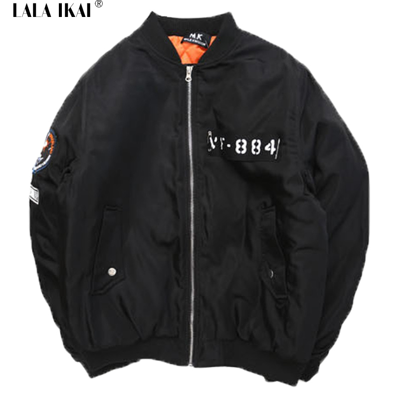 2015 Letter Printing Thick Military MA1 Bomber Jacket Hip Hop Loose Softshell Harajuku Mens Bomber Jacket Winter New SMC0210-4.5