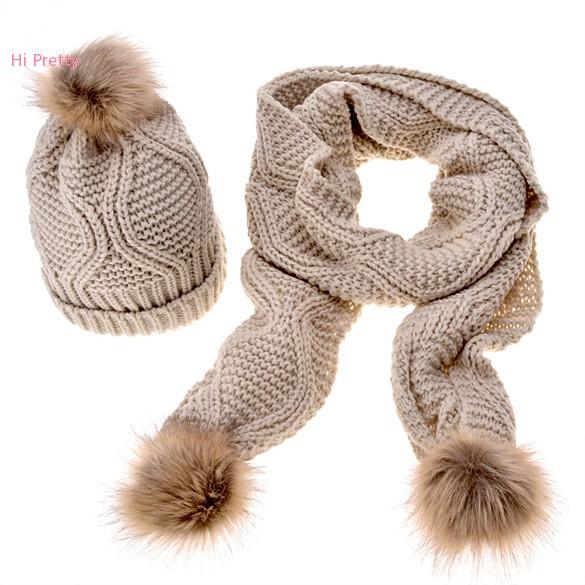 Stylish New Women  Knit Winter Warm Ski Slouch Hat Cap   Scarf Set