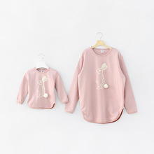 2016 in stock family look spring cute bunny cotton printing matching mother and daughter son matching clothes family clothing