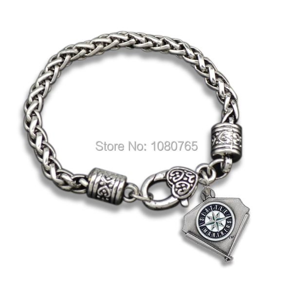 10 Pcs/Lot Antique Silver Seattle Mariners Team Logo Charm Women Bracelets Jewelry(China (Mainland))