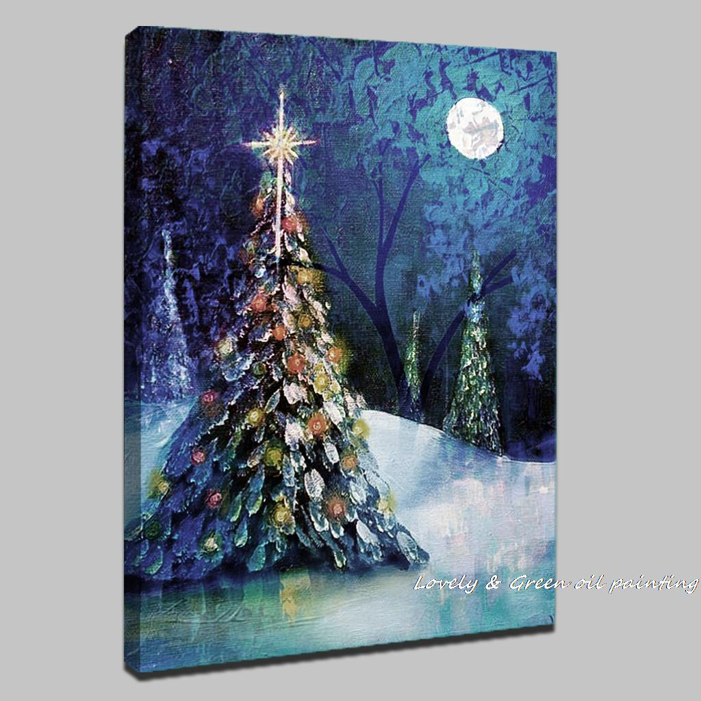 Wall Art Painting On Canvas : Handpainted christmas tree modern oil paintings on canvas
