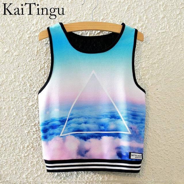 Kaitingu 2016 новое мода женщины без рукавов небо печать урожай лучших обрезаны вершины ...