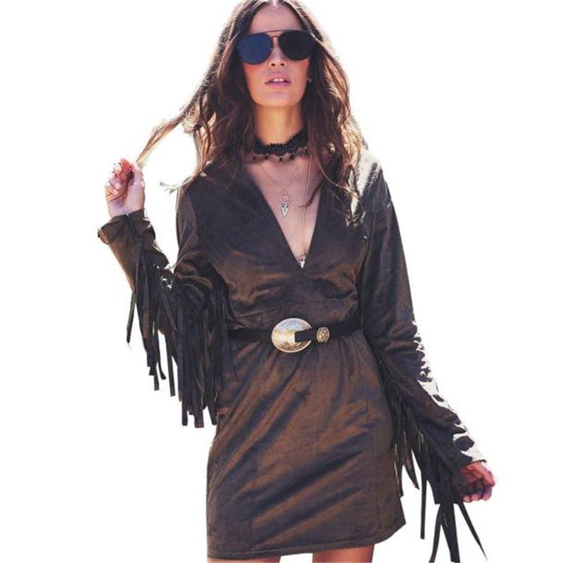 Vintage Women Long Sleeve Dress Fashion Tassels sleeve Personality Waist mini dress Hot matte velvet retro romantic vestido #EE(China (Mainland))