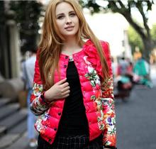 Winter Women Round Neck Bow Printed Jacket Short Paragraph Coat Padded Down Free Shipping