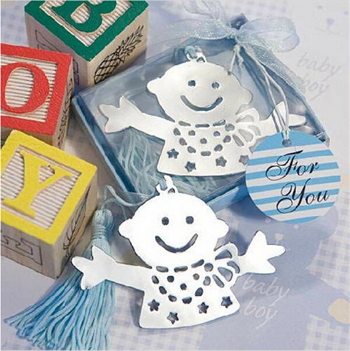DHL Freeshipping 100pcs baby boy Bookmark +baby shower party baptism wedding favors gift(China (Mainland))