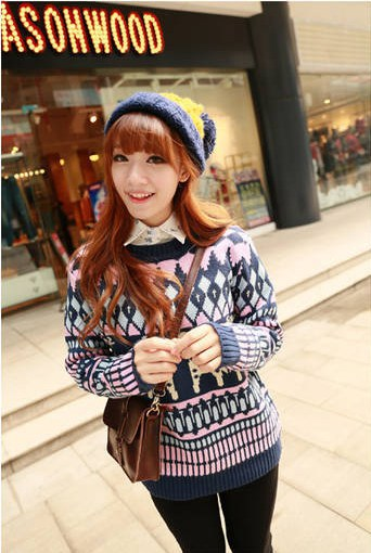 Fashion Women's Pullover Sweater Knitted Giraffe Pattern Winter Ladies Pullover Sweater 2 Colors(China (Mainland))