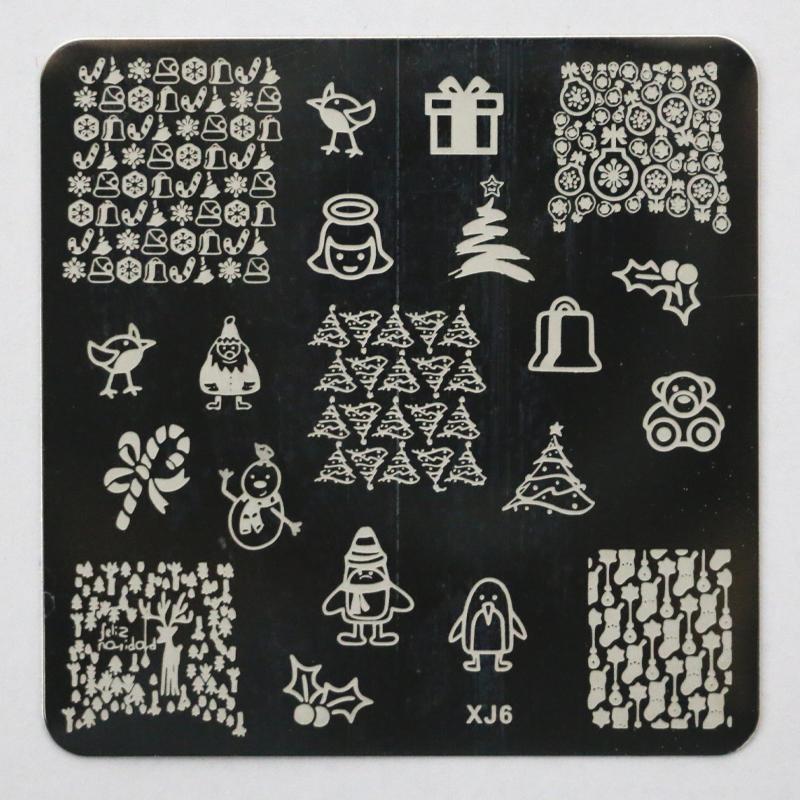 New XJ Series Christmas Patterns Nail Art Image Stamps Plates Konad Stamping Nail Art Decoration DIY Stencil Manicure Tools XJ06(China (Mainland))