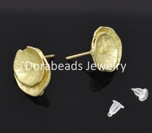 Free Shipping! 10 Pairs Gold Plated Leaf Earring Post W/Stoppers (B12273)(China (Mainland))