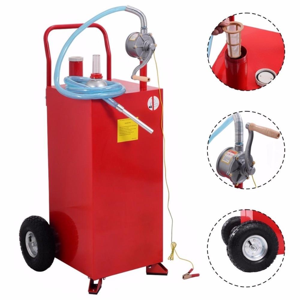 US Store 30 Gallon Gas Caddy Tank Storage Drum Gasoline Diesel Fuel Transfer