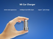 100% Original Xiaomi MI Car Charger Metal Appearance Dual USB Output Quick Charger Adapter For iPhone 5 5S 6 6S For Samsung Etc(China (Mainland))