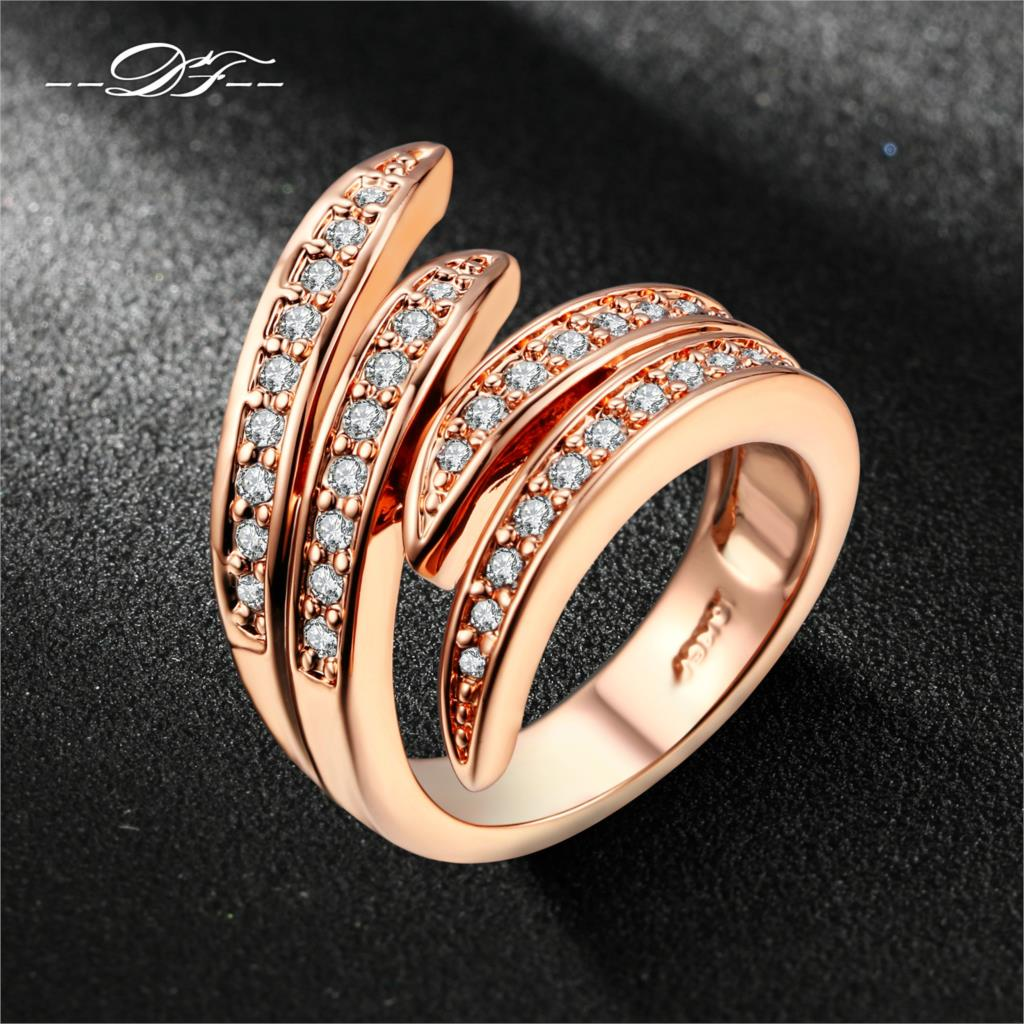 Double Fair Love Angle's Wing CZ Diamond Ring 18K Rose Gold/Silver Plated Fashion Party/Wedding Jewelry For Women Anel DFR115(China (Mainland))