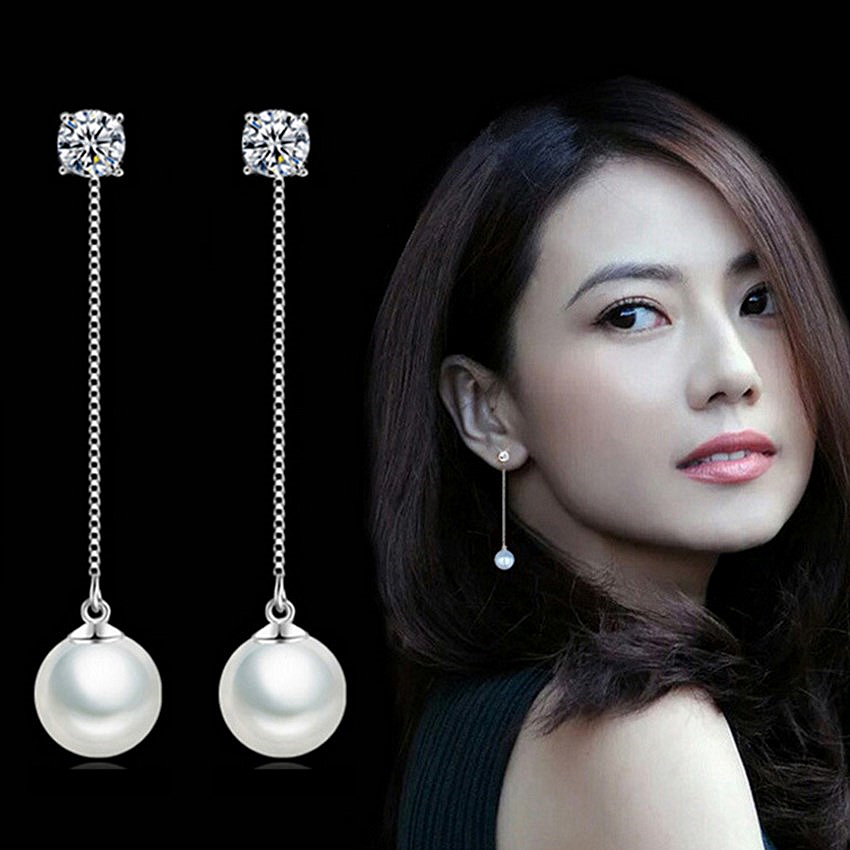 Miss Gao Pinzhi new fashion long section freshwater pearl earrings crystal tassel exaggeration earrings silver jewelry(China (Mainland))
