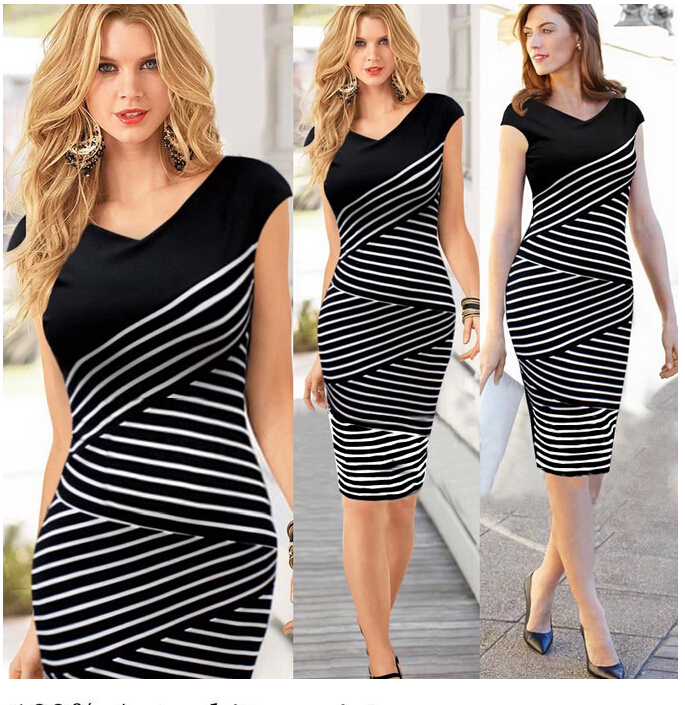 New-2015-Ladies-Cheap-Clothes-Women-Fashion-Cotton-Short-Sleeve-V-Neck-Black-Striped-Dress-Casual.jpg