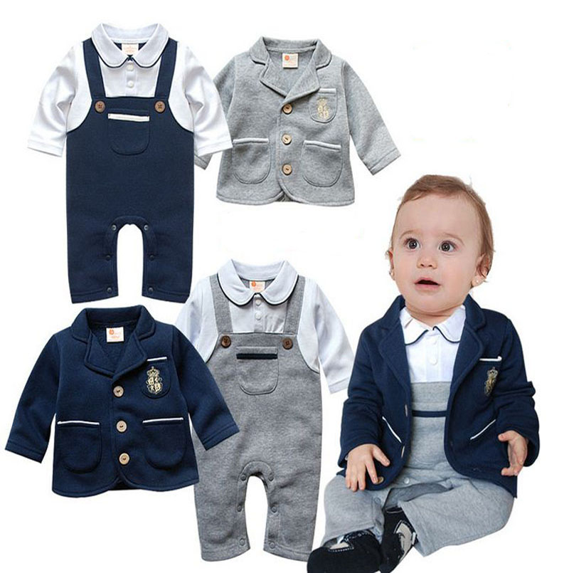 spring autumn toddler body suit infant Long sleeve Romper +Jackets 2pcs clothing sets newborn jumpsuit baby boy clothes DY115C