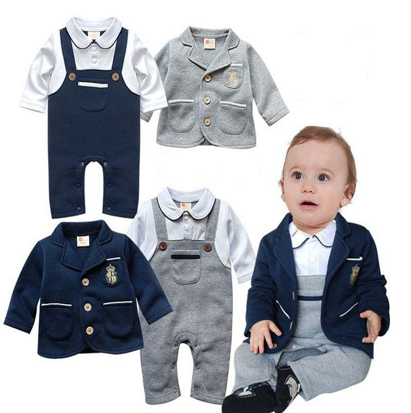 spring autumn toddler body suit infant Long sleeve Romper +Jackets 2pcs clothing sets newborn jumpsuit baby boy clothes DY115C