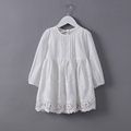 Hot Girls Lace Dress Kids 2017 Summer New Embroidered Hollow Long Sleeve Dresses Children Clothes White