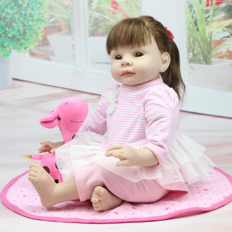 55CM silicone reborn baby dolls realistic girl with brown long hair baby dolls for girls gift boneca reborn toddler(China (Mainland))