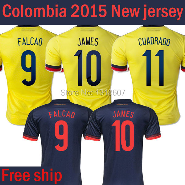 15/16 Home away James soccer jersey Colombian 2015 Falcao camiseta de futbol Calomibia quality Embroidered Logo Colombia jerseys(China (Mainland))