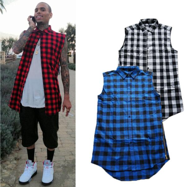 Homme mode hommes dété Style Tyga Swag Hip Hip Hiphop Top Tees T chemises rouge noir bleu à carreaux côté Zzipper urbaine vêtem.