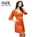 2016 New Fashion European And American Style Solid Color Deep V neck Halter Sexy Dress Nightclub