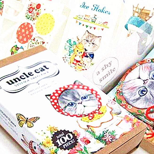 100pcs/set/Korea Kawaii Uncle Cat Bookmark set/20pcs bookmark+70pcs sticker+10pcs card/gift/office school supplies(China (Mainland))