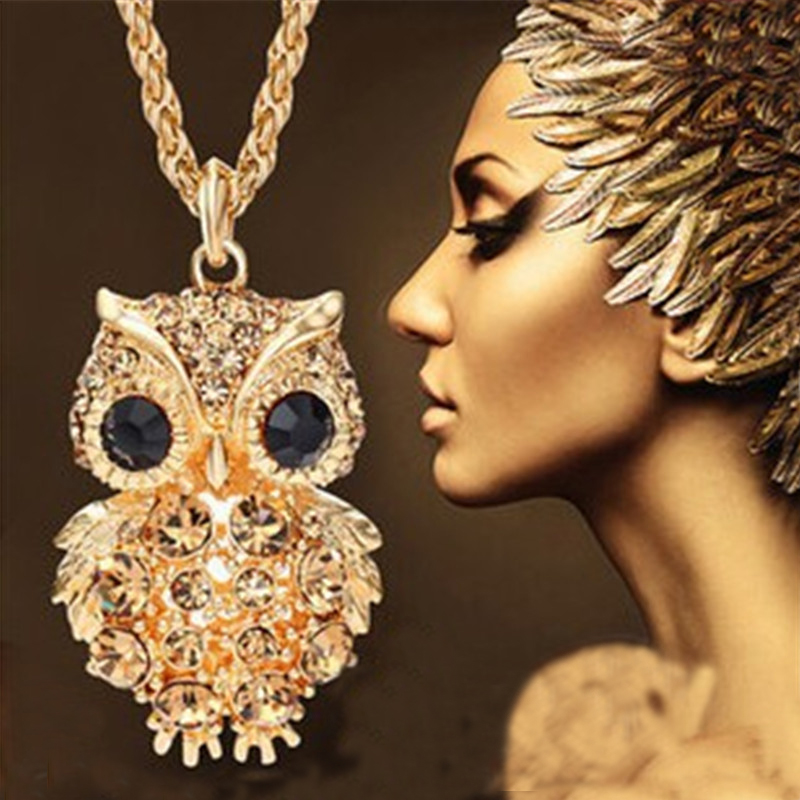 New Brand Charms Owl Necklaces&Pendants Vintage Crystal Gem Cubic Zircon Diamond 18K Gold Long Chain Necklace Women Jewelry A324(China (Mainland))