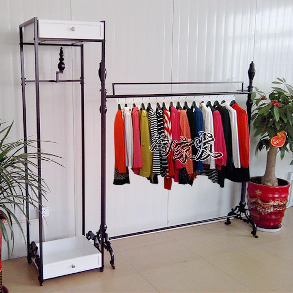 High-grade clothing display rack iron clothing rack clothing store shelf floor hanging pendant n island shelf combination<br>