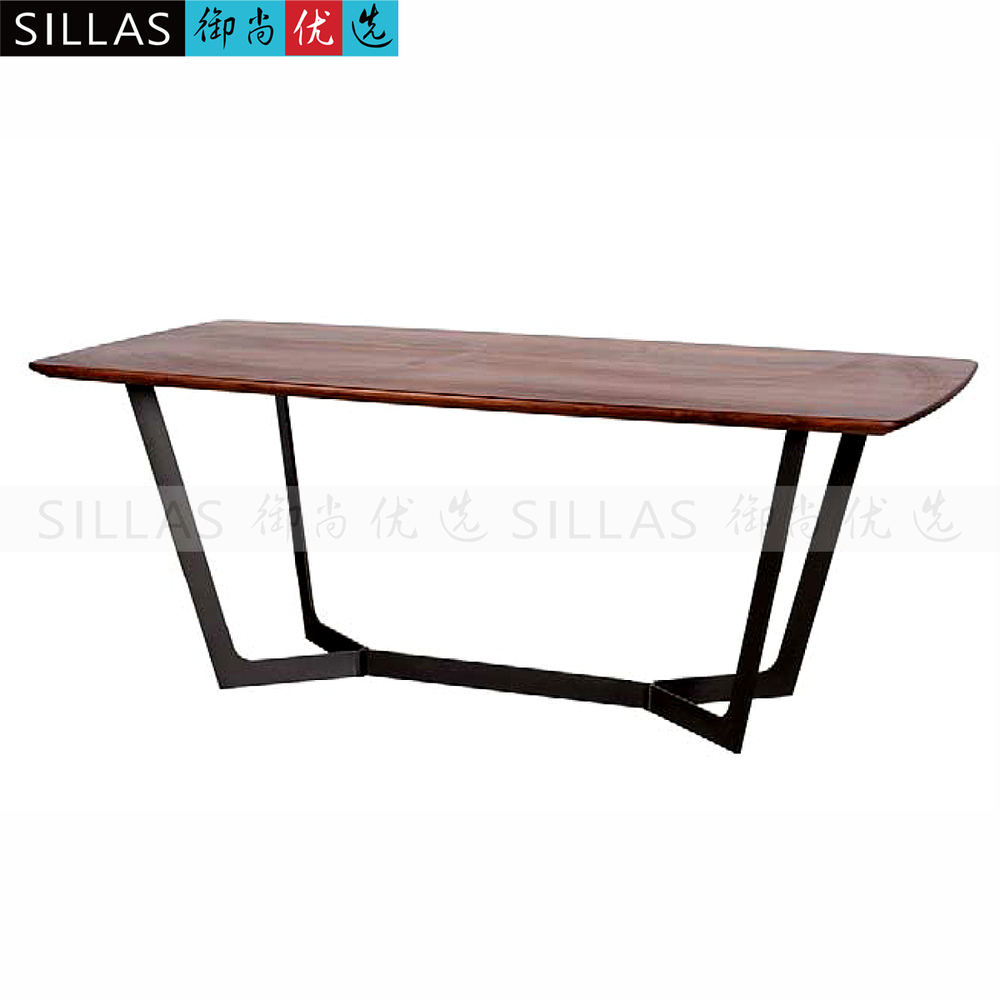 Black walnut dining table two meters long conference table for Long manicure table