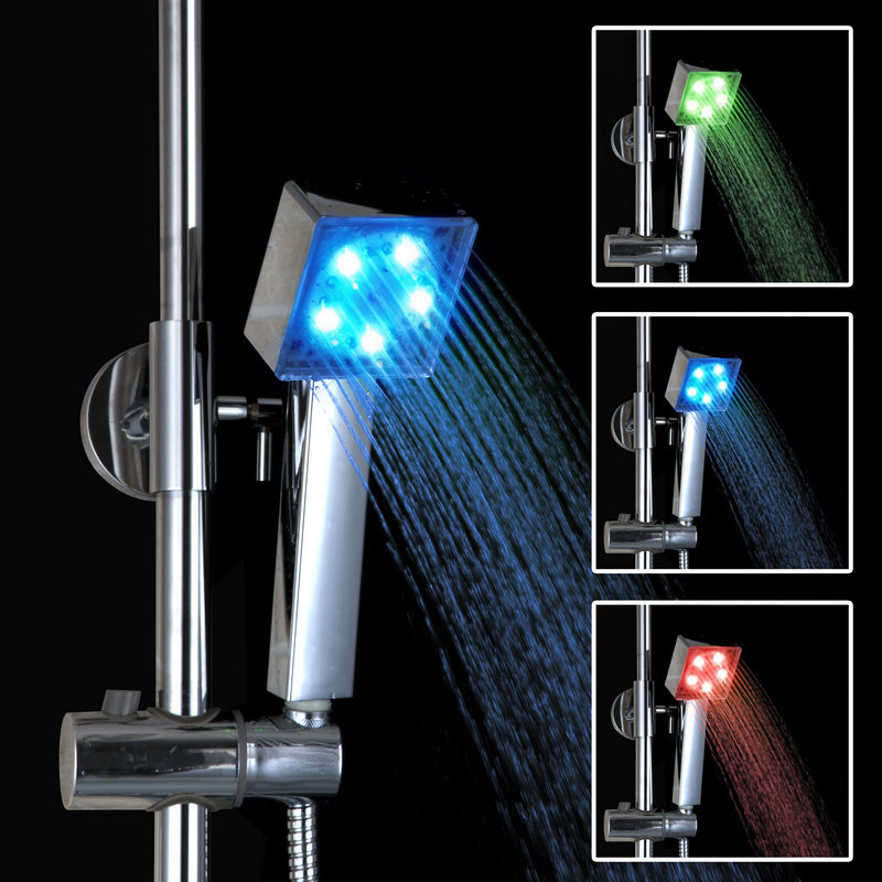No Need Battery Square Chrome Finish Temperature Controlled 3 Colors Handheld LED Shower Head Hand Shower(China (Mainland))