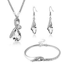 H: HYDE Neue Österreichischen Kristall Schmuck Sets Wasser Tropfen Anhänger Halskette Bolzen Ohrring Armband Silber Überzogene Schmuck Frauen Bijoux(China)