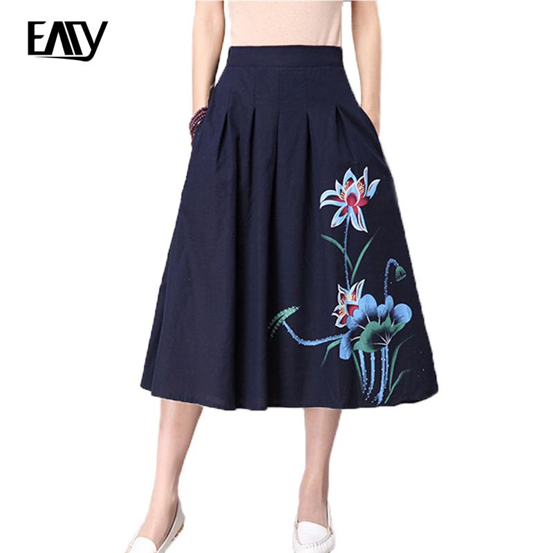 cotton and linen skirt print skirt saias skirts